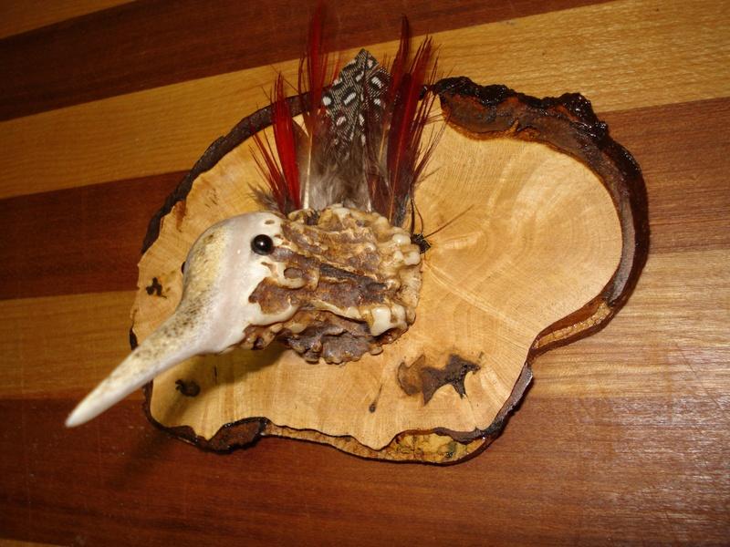 Woodcock mount on burlwood - Side view