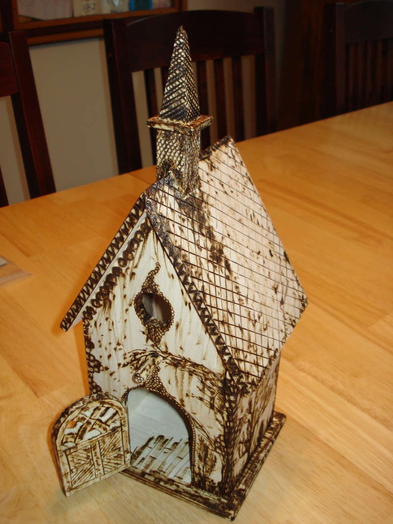 Wood burned Bird House