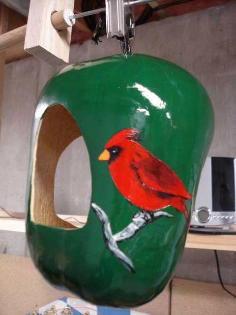 Painted 'real' bird feeder