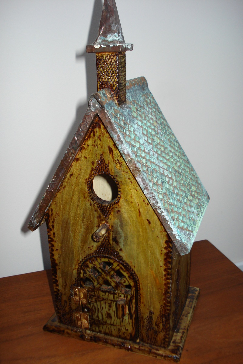 Antiqued Copper Top Birdhouse