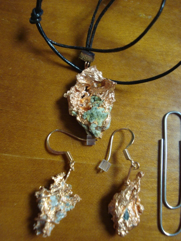 Copper Pendant and Earrings