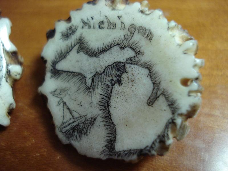 Scrimshaw on Deer Antler Detail-2